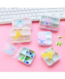 Cute mini portátil 6 slots Pill Case (coreano)