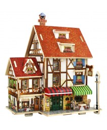 3D DIY Coffee Lodge casa puzzle modelo composto