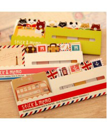 Kawaii British Style & animais bloco de notas mini Memo